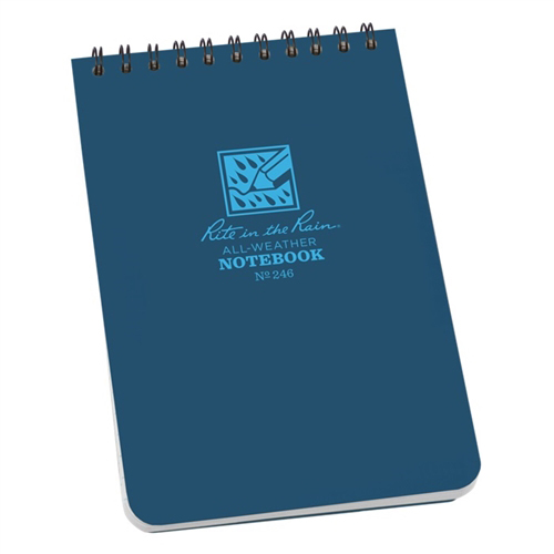 "Rite In The Rain 6""x 4"" Waterproof Pocket Notepad 50 Sheets No. 246 NEW Blue"
