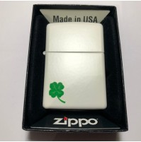 Genuine ZIPPO 214 Clover Matte White Traditional Brass Windproof Lighter