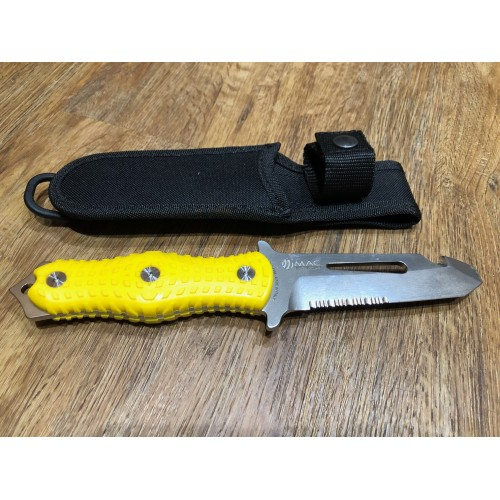 MAC Alli Rescue Diving Knife with Nylon Sheath YELLOW