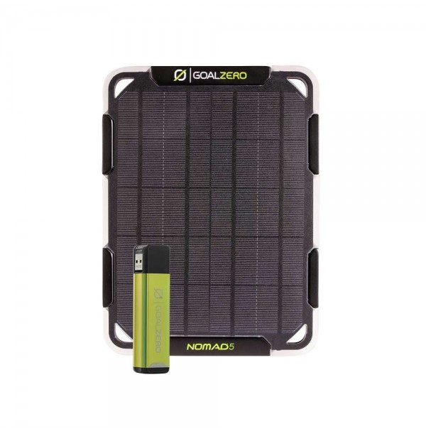Goal Zero Nomad 5 Solar Kit. USB Charger and Power Bank. Charge phone, GPS + More