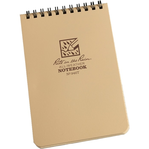 "Rite In The Rain 6""x 4"" Waterproof Tactical Pocket Notepad / Notebook 50 Sheets DESERT TAN 946T"