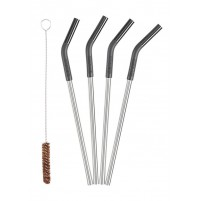 Klean Kanteen Re-useable Straws - 4 Stainless Steel Straws & Cleaning Brush Set
