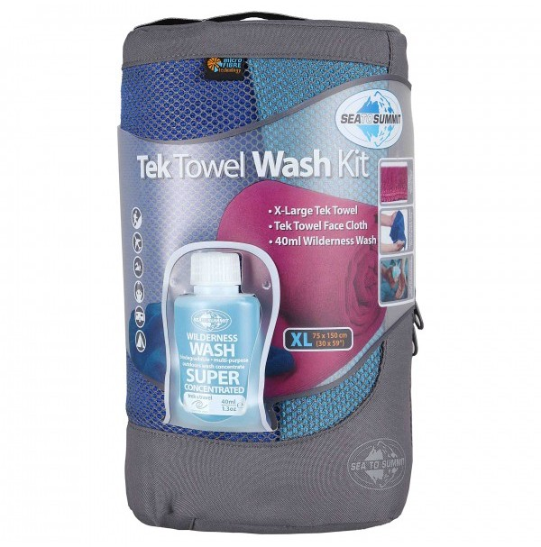Sea to Summit Tek Towel Wash Kit XL Towel, Face Cloth & Wilderness Wash 40ml