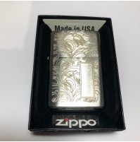 Genuine ZIPPO 200 Tulip Pattern Brushed Chrome Traditional Windproof Lighter
