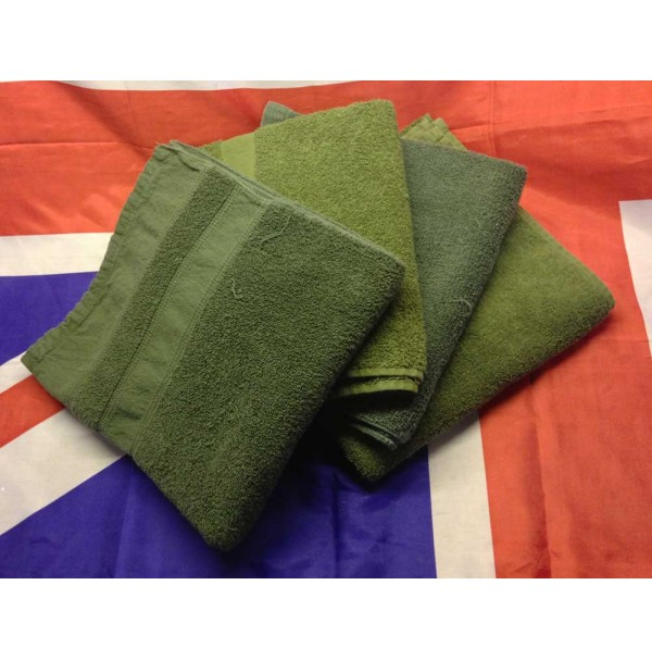 British Army Issue 120 x 55 cm Green Towel 100% Cotton Terry Towelling