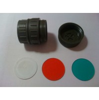 British Army Right Angle Operations / Signal Torch Filter Kit - GREEN, RED & WHITE